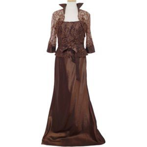 """Montage Faux 2 Piece """"Cocoa"""" Gown w/Jacket NWT- 8"""